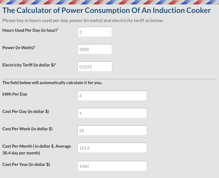 Induction Cooker Power Consumption Calculator Example in SIngapore